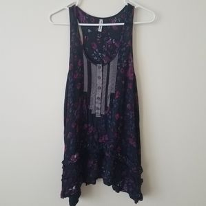 Free People Flowered Flowy Shirt